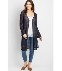 maurices womens crochet duster cardigan blue
