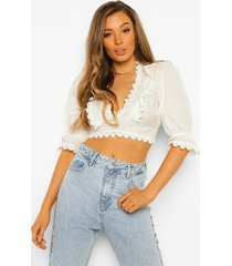 crop top met kanten zoom en ruches, ivory