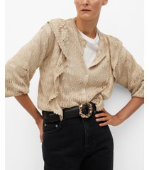 mango women's ruffle openwork knit cardigan