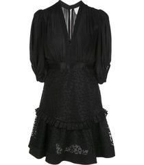alexis estella embroidered cocktail dress - black