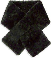 charlotte simone women's clara faux-fur pull-through scarf - black