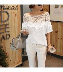 zanzea mujeres moda casual patchwork blusa tops blusas femininas tops verano encaje hueco crochet batwing manga tops (blanco) -blanco