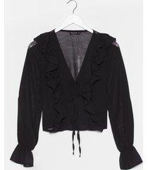 womens frill the one i love chiffon tie blouse - black