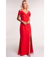 czerwona sukienka maxi balowa
