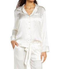 women's kiki de montparnasse silk long sleeve pajama shirt, size small - ivory