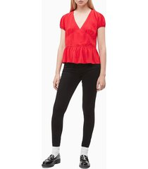 blusa manga corta rojo calvin klein
