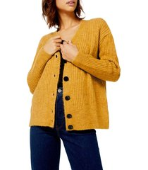 women's topshop button front cardigan, size large - yellow