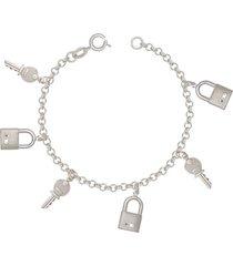 pulseira prata mil prata com 3 chaves e 3 cadeados prata