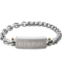 diesel men's engraved stainless steel and concrete id bracelet