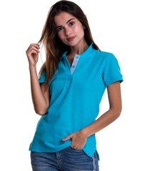 camiseta tipo polo azul aguamarina hamer fondo entero