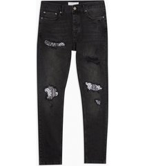 mens washed black bandana rip repair stretch skinny jeans