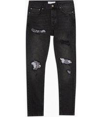 mens washed black bandana rip repair stretch skinny jeans