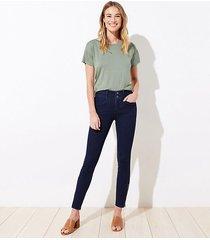 loft ankle zip slim pocket skinny jeans in refined dark indigo wash