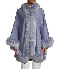 made for generation fox fur-trim cashmere & wool blend cape