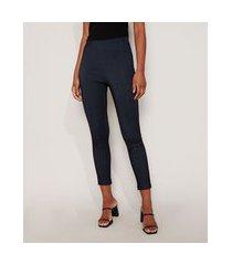 calça jegging feminina cintura alta com recortes azul escuro