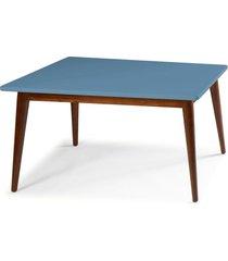 mesa de madeira retangular 180x90 cm novita 609-3 cacau/azul serenata - maxima