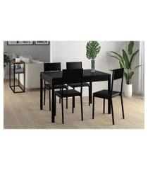 conjunto mesa tampo preto c/ 4 cadeiras vinil preto pozza