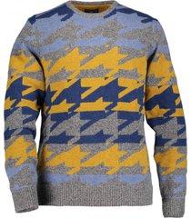 state of art trui wol grijs blauw geel