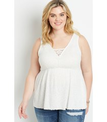 maurices plus size womens white lace trim babydoll tank top