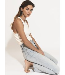 reiss brooke - high rise slim straight cut jeans in pale blue, womens, size 32