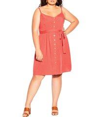 plus size women's city chic date day belted dress, size medium - orange