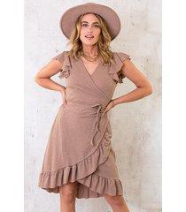 overslag jurk lurex taupe