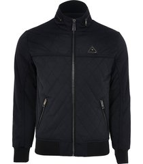 river island mens black quilted jacket