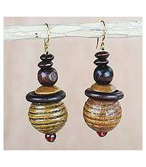 wood and recycled plastic dangle earrings, 'patient soul' (ghana)