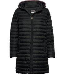 bella lw down packab gevoerde lange jas zwart tommy hilfiger