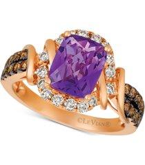 le vian le vian nude grape amethyst (1-3/4 ct. t.w.) & diamond (5/8 ct. t.w.) ring in 14k rose gold