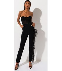 akira trip to london high waisted feather trim trousers
