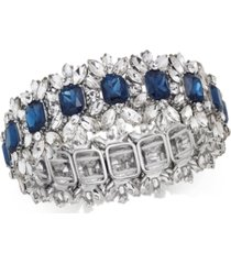 charter club silver-tone crystal & stone stretch bracelet, created for macy's
