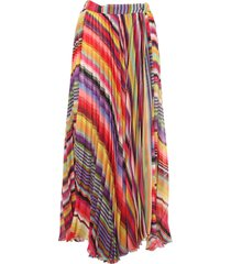 etro pleated multicolor striped georgette skirt