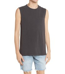 allsaints pilot distressed sleeveless pocket muscle tank, size xx-large in washed black at nordstrom