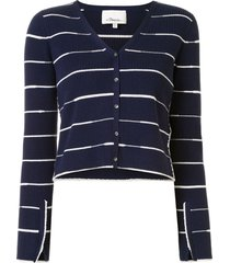 3.1 phillip lim striped ribbed cardigan - blue