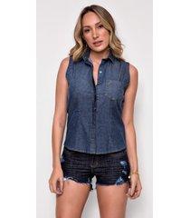 camisa jeans zait regata vergara azul marinho - azul marinho - feminino - dafiti