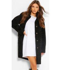 luxe getextuurde teddy jas met knopen, black