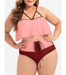 strappy flounce lace-up plus size bikini swimsuit