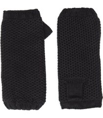 women's treasure & bond fleece lined knit hand warmer gloves, size one size - black