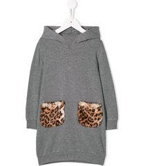 il gufo long-sleeved sweater dress - grey