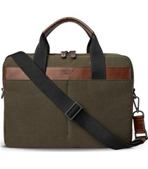 men's shinola mack waxed canvas briefcase - brown