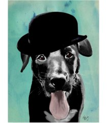 "fab funky black labrador in bowler hat canvas art - 15.5"" x 21"""