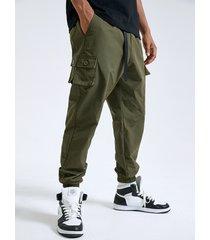 botón liso para hombre diseño cintura con cinta multibolsillos carga pantalones