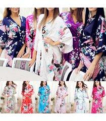 fashion peacock long women bridal bridesmaid kimono robe satin night dress gown…