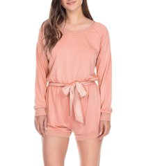 women's honeydew intimates easy rider romper, size large - pink