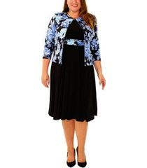 ny collection plus size 3/4 sleeve jacket and solid dress
