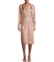 chain-print silk shift dress