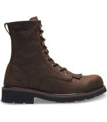 "wolverine ranchero 8"" kiltie steel toe boot brown, size 7 medium width"
