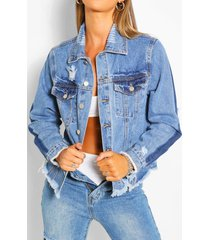 contrast distressed jean jacket, mid blue
