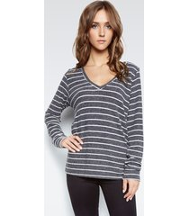 wicus v-neck pullover - l black white stripe